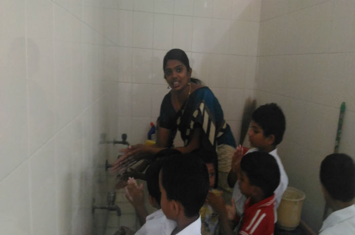 Nursery Children taught the need of hygiene